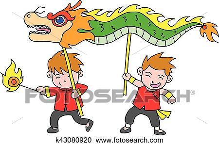 chinese new year festival dragon dance vector art