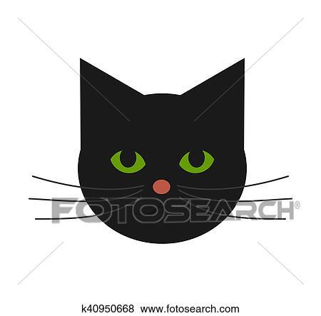 clipart cute gato rosto k40950668 busca de clip art