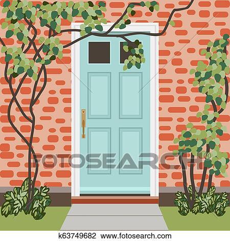 House door front with doorstep and mat, window, lamps ...