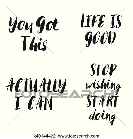 Clipart Of Lettering Motivational Phrases Set Motivational Quotes