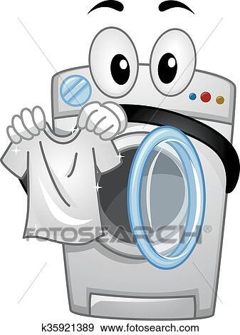 clip art of mascot washing machine handling a clean white shirt rh fotosearch com washing machine and fridge clipart free clipart washing machine