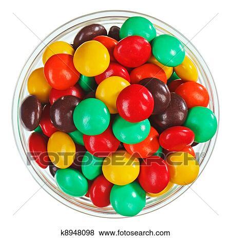Mehrfarbig Bonbon Süßigkeiten Ball Candies In Glasschale