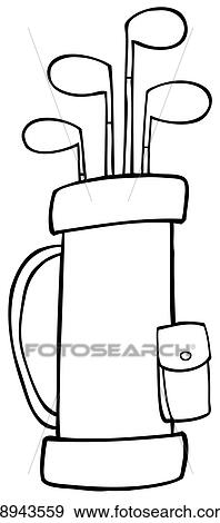 clip art of outlined golf bag k8943559 search clipart rh fotosearch com golf bag clip art images golf bag clip art silhouette