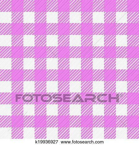 Vector Illustration Of A Pink White Plaid Tablecloth