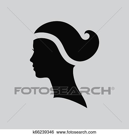 Rosto Mulher Logo Abstratos Logo Perfil Bonito Woman