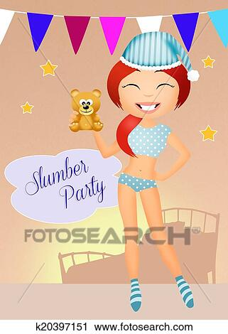 clipart of sleepover k20397151 search clip art illustration