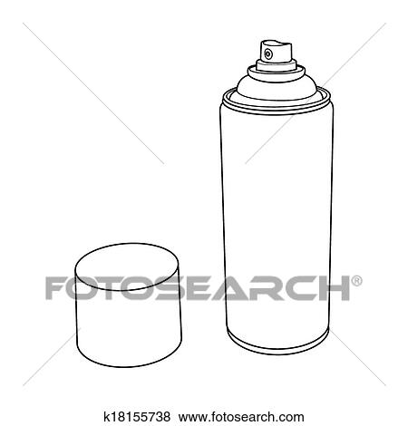 Spray Paint Can Outline Vector Clip Art K18155738 Fotosearch
