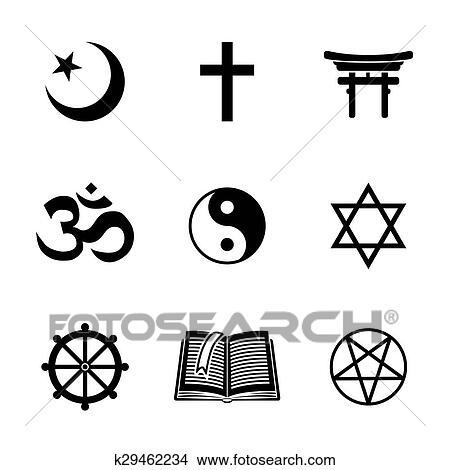clipart of world religion symbols set with christian jewish