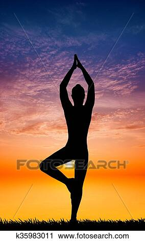 Illustration Of Yoga Pose At Sunset