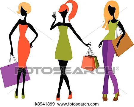 clip art of young girls shopping k8941859 search clipart rh fotosearch com young climate leaders network young climate activist martinez