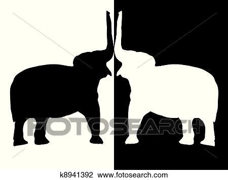 Zwei Elefanten Clipart