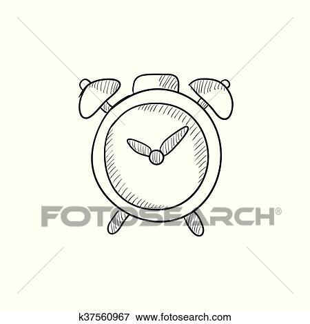 Alarm clock sketch icon  Clip Art