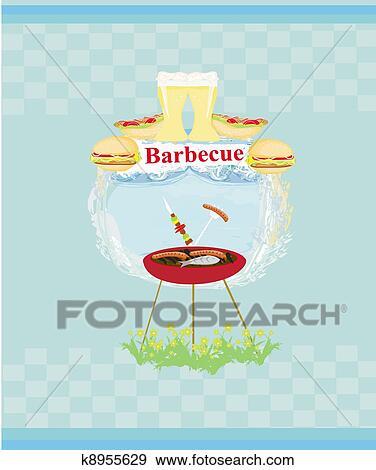 Barbecue Party Invitation Stock Ilration K8955629
