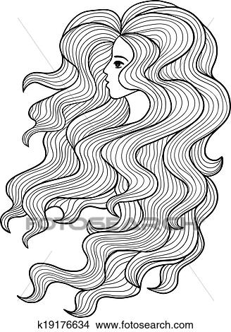 Clipart Of Black And White Vector Girl With Long Curly Hair