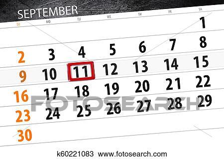 Calendario Dibujo Septiembre.Calendario Planificador Para El Mes Fecha Tope Dia De La Semana 2018 Septiembre 11 Martes Dibujo