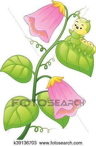 Cartoon Caterpillar On The Plant Clipart K39136703 Fotosearch