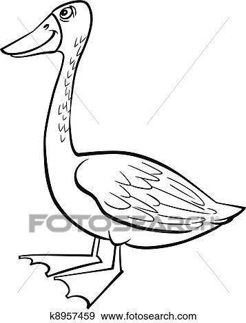 Cartoon goose coloring page Clip Art