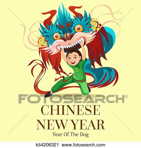 a6bfcc622 Chinese Lunar New Year Lion Dance Fight isolated background, happy dancer  in china traditional costume holding colorful dragon mask on parade or  carnival, ...