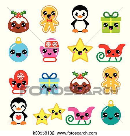 Kawaii Christmas.Christmas Cute Kawaii Icons Set Clipart