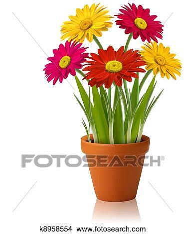 Clipart frais printemps couleur fleurs vecteur - Dessins de fleurs de printemps ...