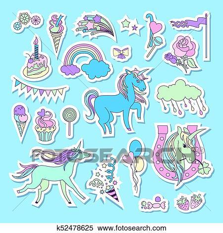Licorne Multicolore Autocollants A Licorne Nuage Gateau
