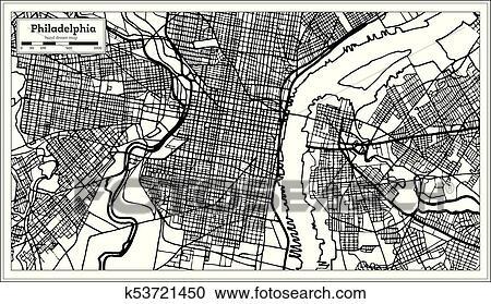 Philadelphia Pennsylvania USA Map in Black and White Color ...