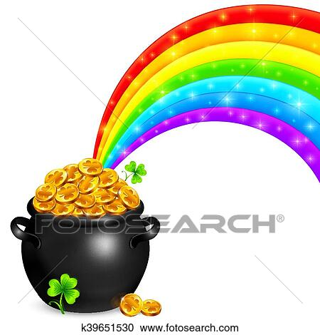 clipart of pot of gold with magic rainbow k39651530 search clip rh fotosearch com rainbow and pot of gold clipart black and white rainbow pot of gold clipart free