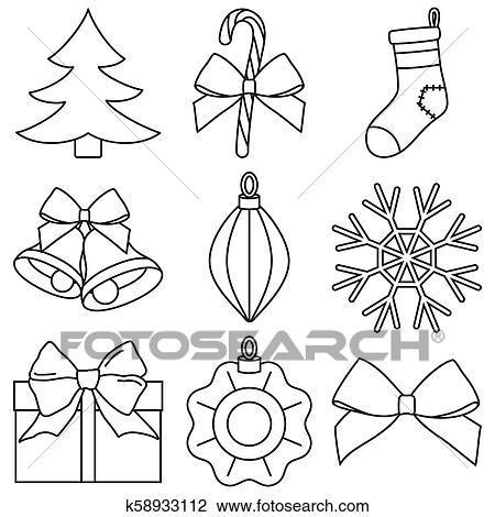 Weihnachten Schwarz Weiß Bilder.Strichzeichnung Schwarz Weiß 9 Weihnachten Elemente Satz Clipart