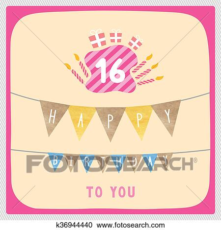 Stock Illustraties Vrolijke 16 Verjaardag Kaart K36944440 Zoek