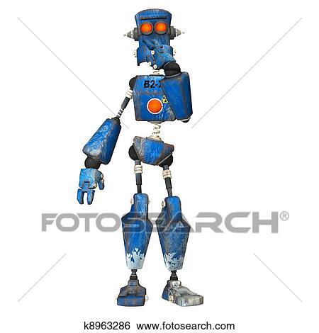 青 ロボット イラスト K8963286 Fotosearch