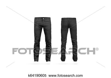 1606937303e0 Blank black mens pants mock up, isolated, front and back side view. Empty  classic male trousers mockup. Clear denim clothing for work template.