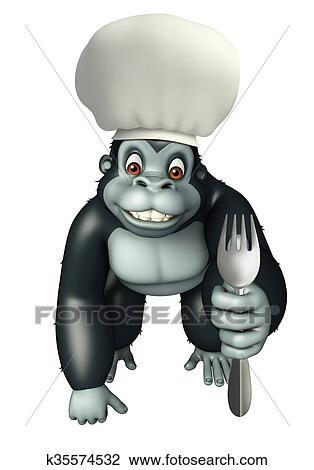 Clip art gorilla cartone animato carattere con cappello chef