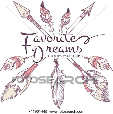 Hipster fashion, apache, american indian, boho vector poster with arrows  and feathers Clipart