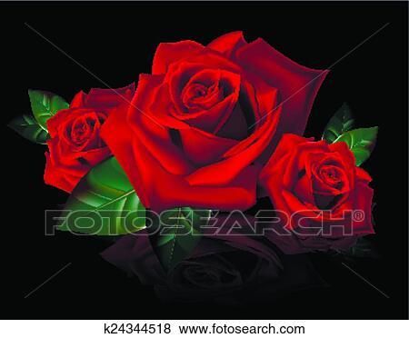 Clip Art Mazzolino Di Rose Rosse Con Reflectio K24344518