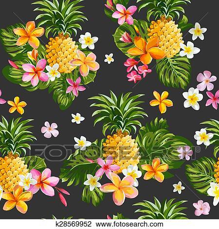 Pinapples Y Flores Tropicales Plano De Fondo Vintage Seamless
