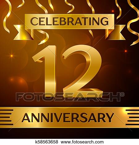 clip art realistic twelve years anniversary celebration design golden confetti and gold ribbon on