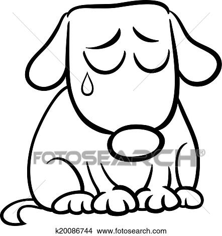 Clipart Of Sad Dog Cartoon Coloring Page K20086744 Search Clip Art