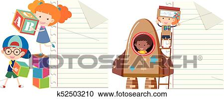 Clipart Of Two Paper Template With Kids Playing Toys K52503210