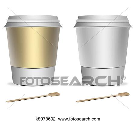Clip Art Of 2 Plastic Coffee Cup Templates K8978602