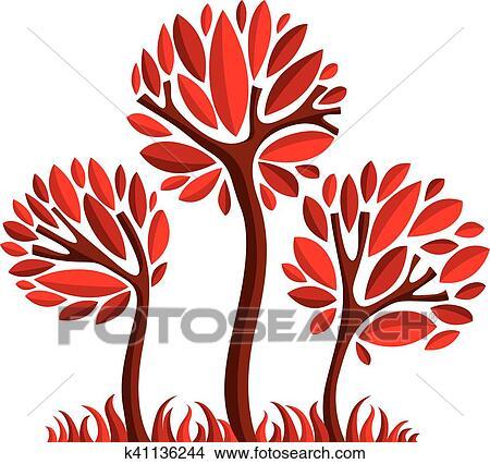 Arte Fata Illustrazione Di Albero Stilizzato Eco Simbolo