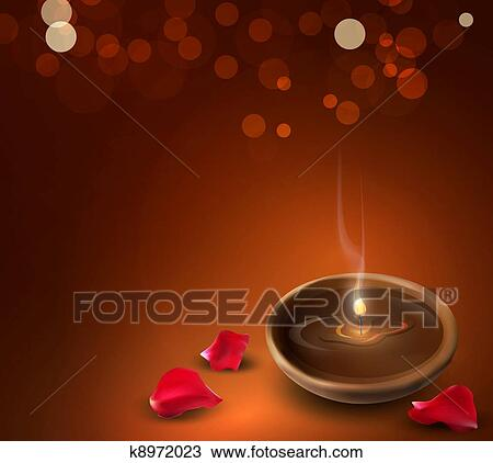 Background with a romantic burning candles and rose petal Drawing