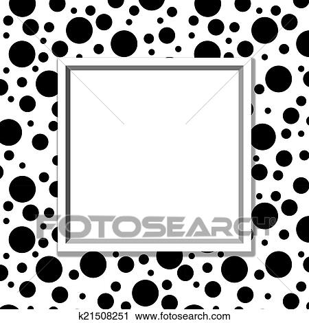 Stock Photography of Black and White Polka Dot Background with Frame ...