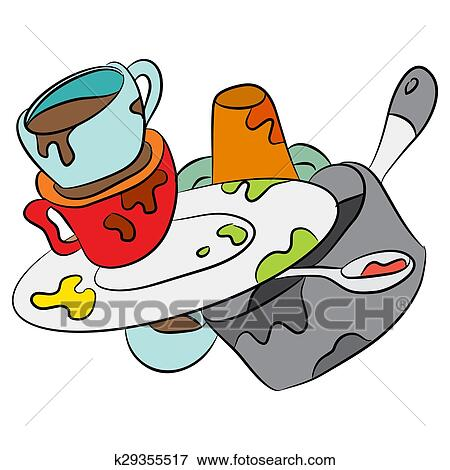 clip art of cartoon dirty dishes k29355517 search clipart rh fotosearch com dirty dishes clip art image clean dirty dishes clipart