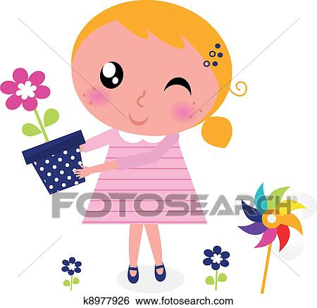 clip art of cute spring girl with flower isolated on white k8977926 rh fotosearch com free cute spring clipart cute spring clipart