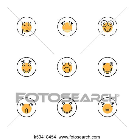 Emoji, emoticons, eomtions, smileys, eps icons set vector Stock Illustration