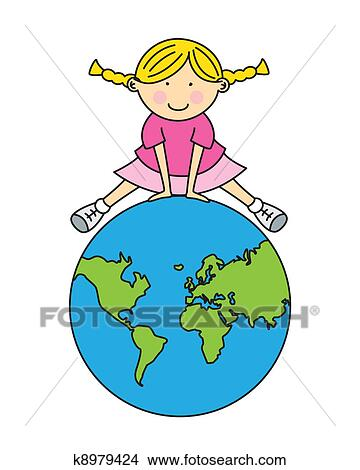 clipart of girl with world map k8979424 search clip art rh fotosearch com free clipart world map outline clip art world map free