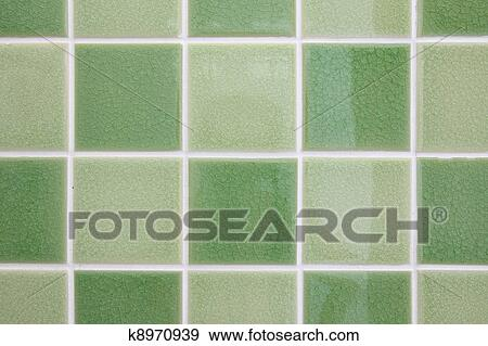 Groene Mozaiek Tegels : Stock fotografie groene toon mozaïek tegels glanzend badkamer