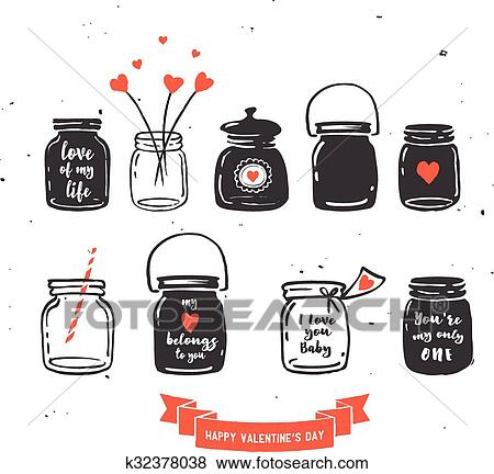 Clip Art Of Hand Drawn Mason Jar Collection Love Quotes K32378038