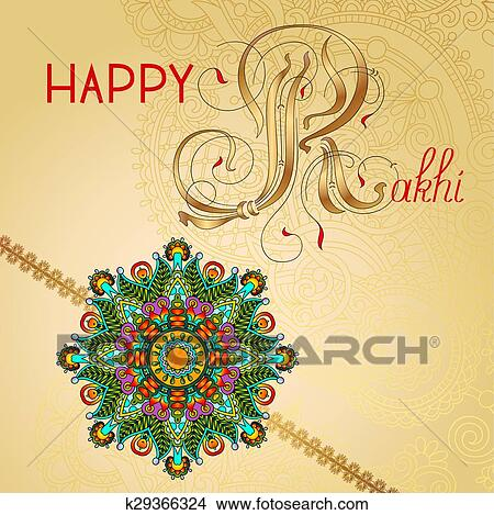 Clipart of happy rakhi greeting card for indian holiday raksha clipart happy rakhi greeting card for indian holiday raksha bandhan fotosearch search clip m4hsunfo