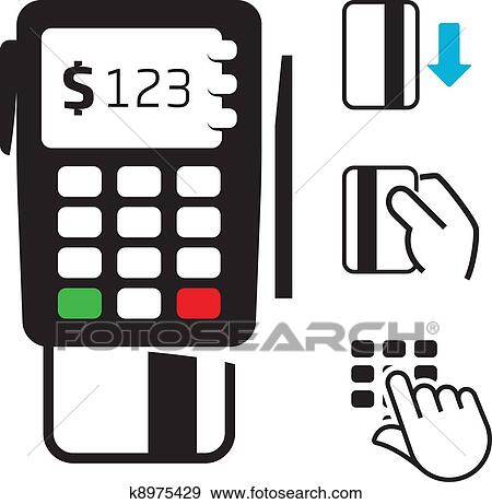 clip art of pos terminal and credit card icons k8975429 search rh fotosearch com credit card clip art images credit card machine clipart